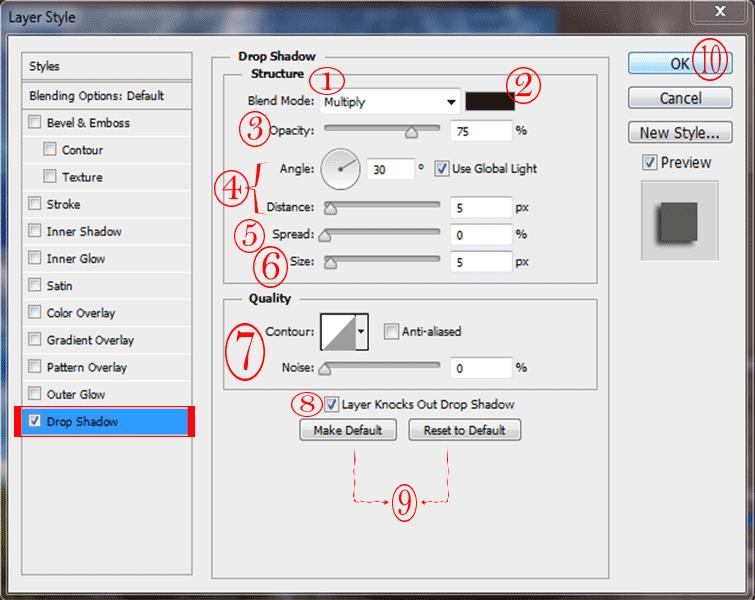اضافه کردن drop shadow در فتوشاپ به یک لایه – drop shadow effect