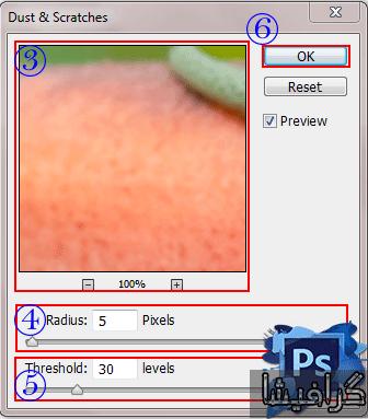 آموزش فیلتر dust & scratches در فتوشاپ