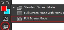 ابزار change screen mode در فتوشاپ